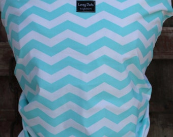 ORGANIC COTTON Baby Wrap Sling Carrier-Light Turq Chevron on White-DvD Included-One Size Fits All-Newborn -Toddler