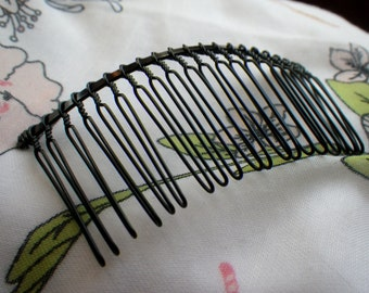 Black Large Wire Hair Comb 78x38mm 4 Pcs