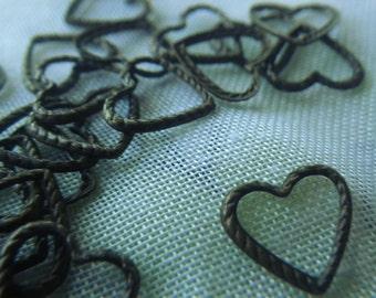 Textured Brass Heart Rings 8mm Brass Ox Finish 24 Pcs