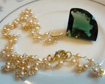 Green Amethyst and Pale Peach Seed Pearls
