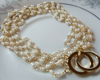 Multi Strands Freshwater Seed Pearls Necklace