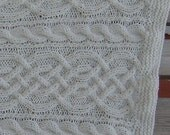 """hand knitted aran color throw in 4 panel  saxon braid and cable apx.  33"""" x 47"""" worsted weight acrylic"""