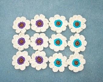 12 handmade thread crochet applique flowers  -- 1303