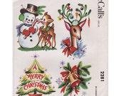 Vintage Pattern McCalls 2281 Reindeer Snowman1958 Water Decal Christmas Kitsch