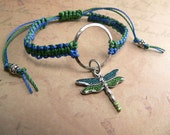 Knotted Bracelet Painted Dragonfly Charm Adjustable Macrame Two Tone Cord - Custom Order