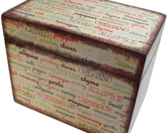 Recipe Box,  Bridal Shower, Wedding Card Box, Guest Book Alternative, Holds 4x6 Cards, Storage Organization, Kitchen Spices, MADE To ORDER