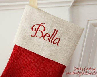 SALE!! Burlap Christmas Stocking - Red and cream detail - Free monogramming