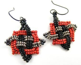 Black Earring, Red Earrings, Gray Earrings, Celtic Earrings, Celtic Star, Basketweave Earrings, Handwoven Earrings