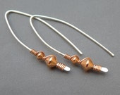 Sterling Silver and Copper Earrings with Copper Beads 20 Gauge Wire Wrapped