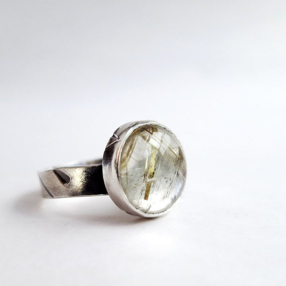 Rutilated Quartz ring, Stering Silver, clear gemstone, golden needles