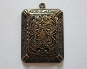 Vintage Oxidized Brass Art Deco Pendant Stamping