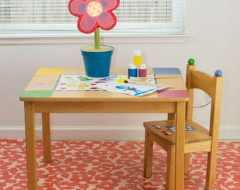 "Splat Mat/Tablecloth ""Dotted Flower"" - Laminated Cotton BPA  & PVC Free - Choose Your Size below!"