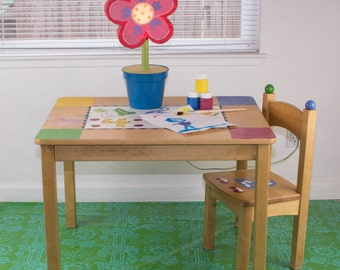 "Splat Mat/Tablecloth ""Green Lace"" - Laminated Cotton BPA  & PVC Free - Choose Your Size below!"