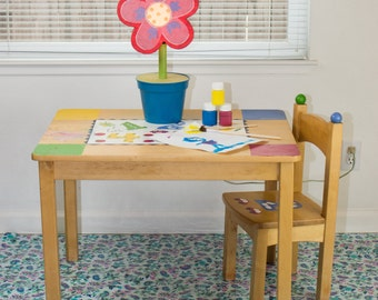 "Splat Mat/Tablecloth ""Mini Blue Paisleys"" - Laminated Cotton BPA  & PVC Free - Choose Your Size below!"