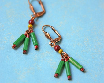 Speakeasy Earrings with vintage Czech Green Bugle Beads and Vingtage Czech and Contemporary Glass