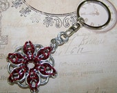 Ruby Red Celtic Star Chainmaille Key chain