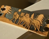 Leather Wristband -Wolves-Leather Wristband-Tooled Wristband-Leather Wristbands-Wolves-Leather Wristband-Wolf Wolves Totem Animal-Wolf Pack