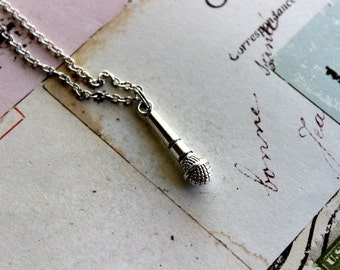 microphone. necklace in antiqued silver color