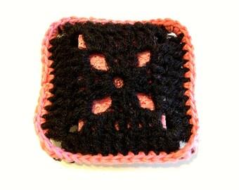Pink And Black Square Nylon Netting Scrubbing Sponge