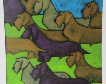 Wirehair Dachshunds Wiener Dogs Assemble Original Limited Edition signed print from painting by  Canadian Ellen Haasen