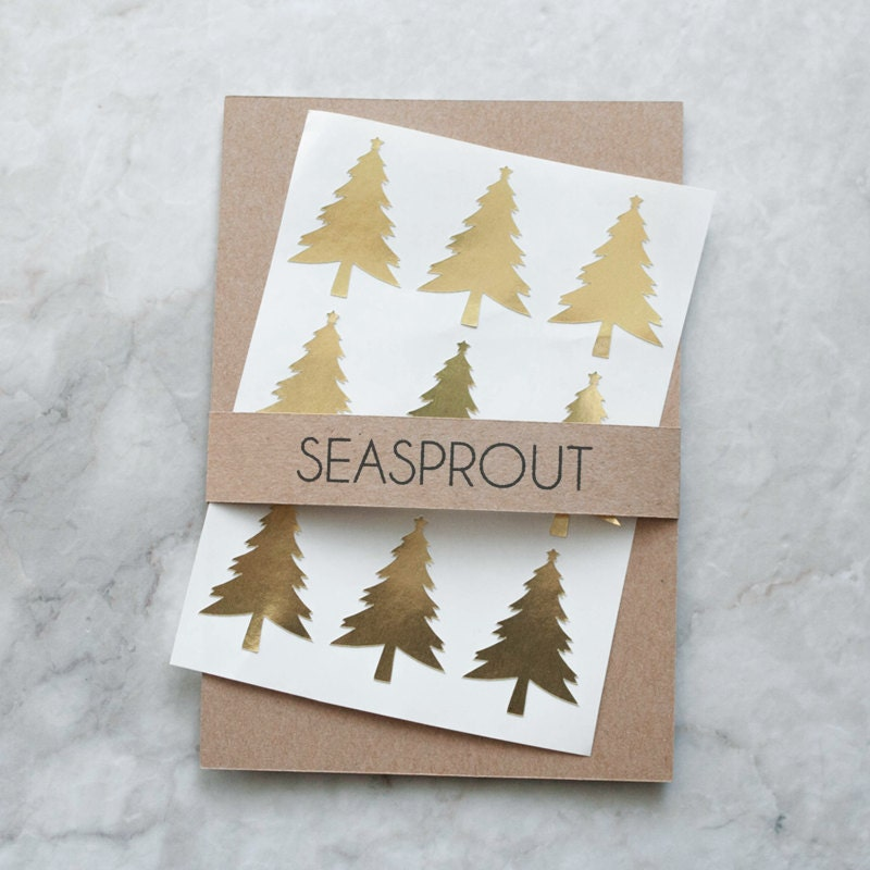 Metallic gold christmas tree stickers by