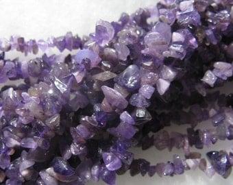 Purple Amethyst Gemstone Chip Beads 12 inch Strand