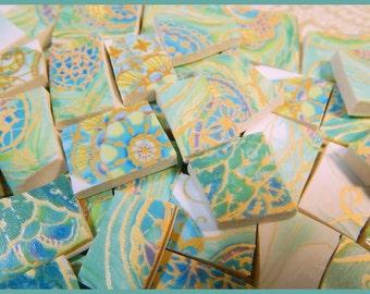 China Mosaic Tiles - AQuA  and GoLD PAiSLEY - 100 Mosaic Tiles