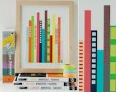 Cityscape Art Print - Bright, modern, and colorful skyscraper art print.