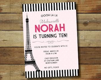 Paris birthday invitation, paris birthday party, Eiffel tower invitation, paris themed party