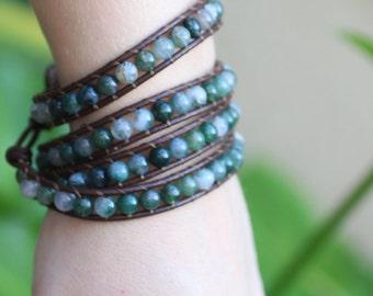 Moss Agate Leather Wrap Bracelet