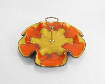 Vintage Serving Dish, Orange Snack Dish, Serving Platter, Hippie Dish, Hippie Decor