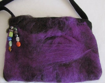 Handbag, Handcrafted Felt, Designed with Black and Purple Wool, one-of-a- kind