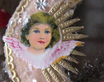 Vintage Style Pressed Spun Cotton Victorian Christmas Crescent Moon Ornament with Antique Angel Diecut, Dresdens and Vintage Mica