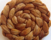 Roving for spinning hand dyed luxury silk blends semi solids  2ozs Cinder Toffee PRE Order