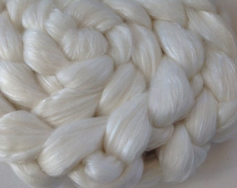 Undyed roving for spinning or felting 4ozs polwarth mulberry silk 70/30 ready to ship