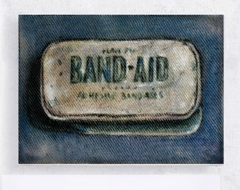 Band Aid - Realism Still Life - Vintage Collectable Tin Label Art - Wall Art - Home Decor - Bathroom Decor - Canvas Print on 5x7 Art Block