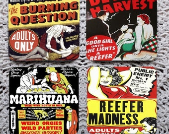 Reefer Madness -- Vintage Movie Mousepad Coaster Set