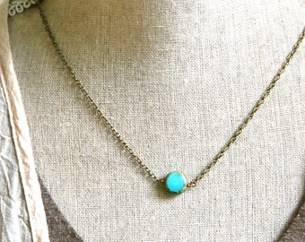 Simple blue dot. bohemian beaded coin necklace. Tiedupmemories