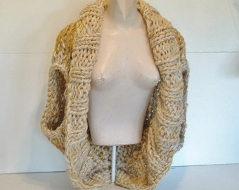 Super chunky knit womens wrap sweater shrug style sleeveless vest with deep shawl collar hand knit medium large extra large