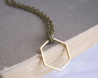 Simple Golden Hexagon necklace - small fine honeycomb charm - minimalist jewellery - nickel free
