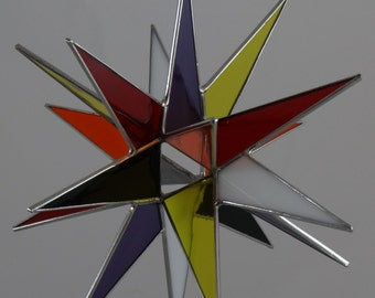 18 Point Multi Color Moravian Star - Glass Art by Joe Stained Glass Studio LLC