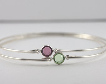 Choice of 2 Birthstone Sterling Silver Bangle Bracelet, Sterling Silver Bracelet, Birthstone Bangle Bracelet, Birthstone Bracelet [#763]