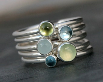 Spring Day Stacking Rings, Sterling Silver Set of Five, Greenery Prehnite, Sky Blue Topaz, Aquamarine, Peridot, Green Cabochon Stackable