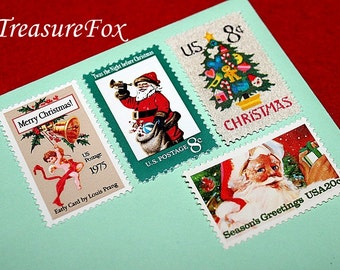 CHRISTMAS PAST .. Unused Vintage Postage Stamps .. Enough to mail 5 letters