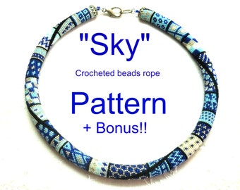 "My  ""Sky""  Crocheted  Beads Rope necklace pattern Tutorial and bonus  for personal use only"