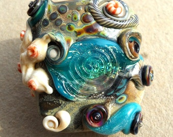 Tide Pool- Atlantis- Handmade lampwork bead beach themed XL focal in ivory rainbow raku turquoise and glitter dichroic