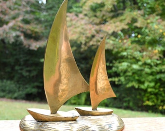 Vintage Brass Sailboats