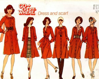 Go everywhere dress pattern and scarf vintage sewing pattern Top stitched dress Simplicity 7135 Bust 34