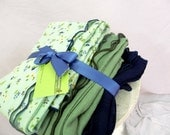 Swaddler Baby Blanket trio - 3 oversized Cotton Gauze Receiving blankets - mint floral and accents