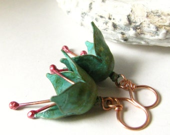 Verdigris Earrings, Green Patina Earrings, Brass And Copper Flower Earrings,  Mixed Metal Earrings, Artisan Jewelry, Wabi Sabi Flower